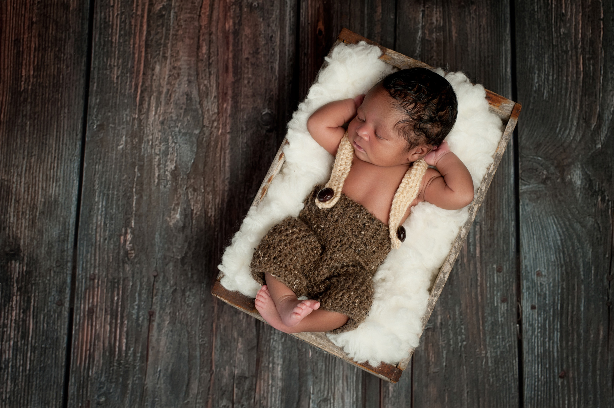 Baby Portrait Photography - Baby in a Rustic Crate